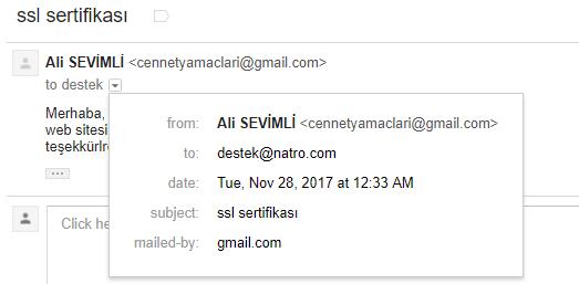 Gönderdiğim E-Posta'nın saati;